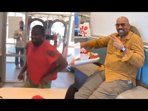 Kanye West Runs Into Steve Harvey And Rick Fox At Chic-Fil-A In Georgia