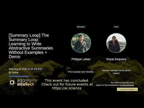The Summary Loop: Learning to Write Abstractive Summaries Without Examples + Demo