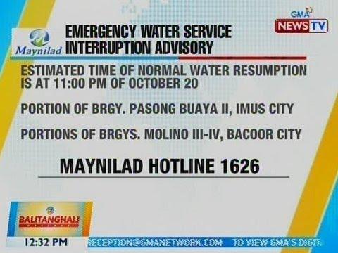 [GMA]  BT: Maynilad emergency water service interruption advisory