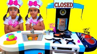 Esma Pretend Play w/ Cute Blue Kitchen  Toy Cooking Food Kids Playset