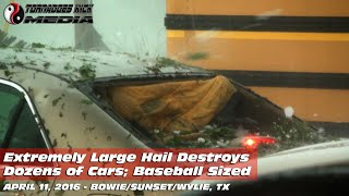 04/11/2016 Bowie/Sunset, TX - Baseball Hail Trashes Cars (Wylie)