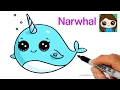 How to Draw a Cartoon Narwhal Unicorn Whale Easy
