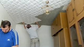 Как Быстро  клеить потолочную плитку