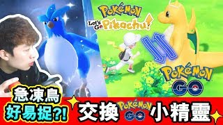 【Pokémon: Let's Go#7】用POKEMON GO交換可以馬上有所有圖鑑?急凍鳥超易捉!?