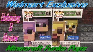 Walmart Exclusive Steve In Gold Armor & Alex In Enchanted Armor Funko Pop Unboxing & Review