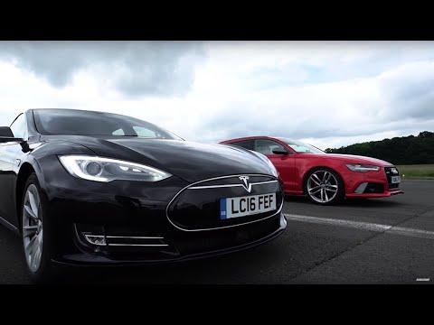 Drag Race! Tesla Model S Vs Audi RS6   Top Gear