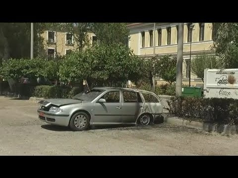 Εμπρησμός αυτοκινήτων έξω απο τα δικαστήρια της Ευελπίδων