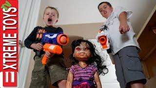 Crazy Doll Attacks! Nerf Battle Vs. Wild Toy.