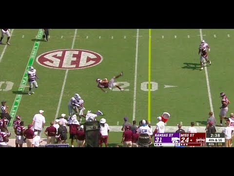 Mississippi State's quarterback, Garrett Shrader gets launced 9' in the air when tackled.