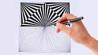 How To Draw Geometric Square Design ! 3d Drawing Design ! Optical Illusion ! 3d Drawing Trick