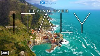 FLYING OVER ITALY 4K: Cinque Terre Coast by Drone + Light Ambient Music & Ocean / Nature  Sounds