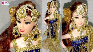 Barbie Doll In Stylish Designer Salwar Suit | How To Stitch A Salwar Suit For Barbie