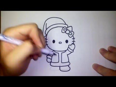 คิตตี้ ชุด ซานตาครอส วาดการ์ตูนกันเถอะ สอนวาดรูป การ์ตูน