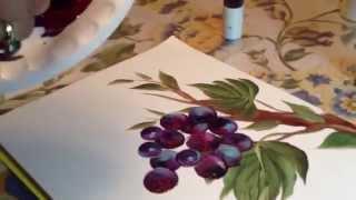 Pintando uma videira – Pé de uva com os cachos