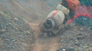 heavy equipment accidents caught on tape, concrete mixer truck accident, excavator fails