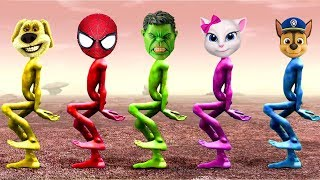 Alien Dance Spiderman, Hulk, Paw Patrol and Angela 'Dame Tu Cosita' Song Learning Colors For Kids