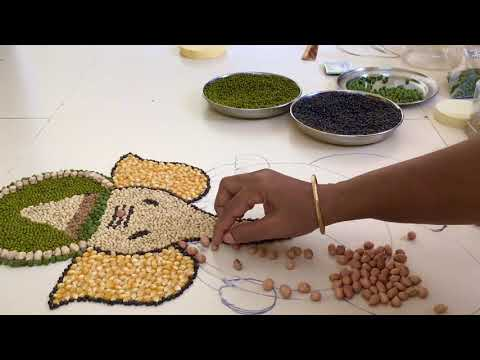 pulses rangoli design ganesha for ganesh chaturthi festival by poongodi