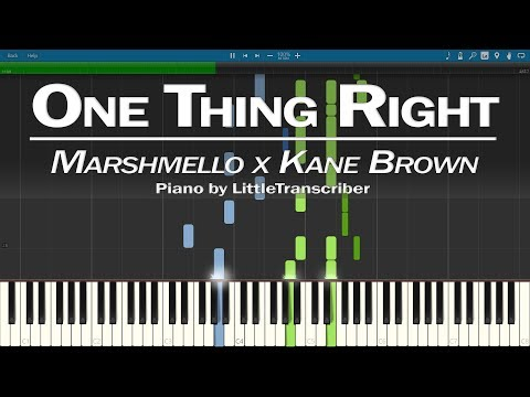 Marshmello x Kane Brown - One Thing Right (Piano Cover) Synthesia Tutorial by LittleTranscriber