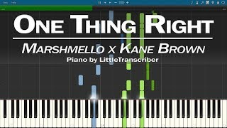 Marshmello X Kane Brown   One Thing Right (Piano Cover) Synthesia Tutorial By LittleTranscriber