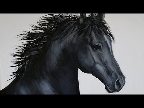 Black Horse Acrylic Painting LIVE Tutorial