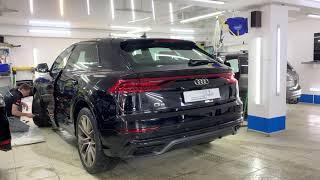 Audi Q8 - оклейка кузова матовой пленкой, затемнение оптики, антихром и целый комплекс услуг
