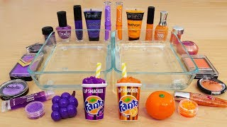 Grape vs Orange - Mixing Makeup Eyeshadow Into Slime Special Series 136 Satisfying Slime Video