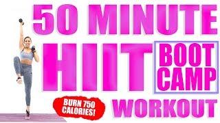 50 Minute HIIT Bootcamp Workout 🔥Burn 750 Calories! 🔥