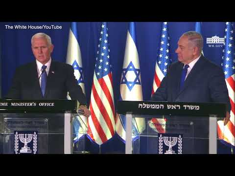 U.S. Vice President Pence comments with Israeli PM Netanyahu