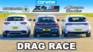 [carwow] BMW X4M v Porsche Macan Turbo v Alfa Stelvio QV: DRAG RACE