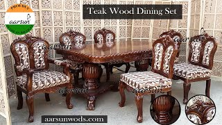 #60 6 Seater Dining Set In Teak, Real Wood Dinner Table Chair Set @Aarsun - Art Of India