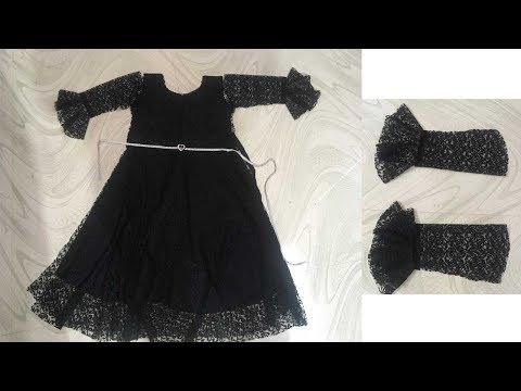 DESIGNER NET  UMBRELLA FROCK WITH BELL SLEEVES CUTTING AND STITCHING PART -1