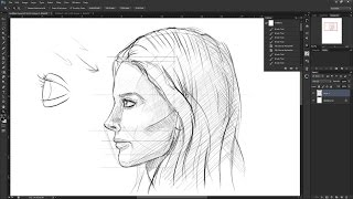 How to draw the female face side view: Drawing the human head from the side profile