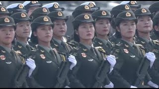 Female soldiers march during China's National Day celebrations