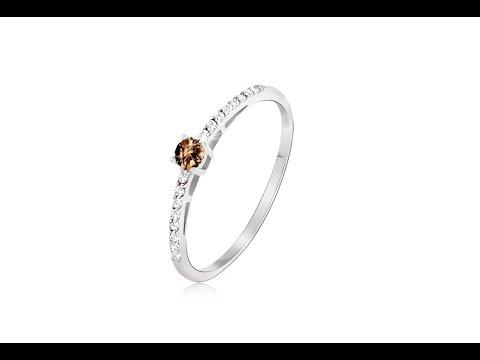 Schmuck - Ring in weißem 14K Gold - glänzender glatter brauner Stein, winzige Zirkonia