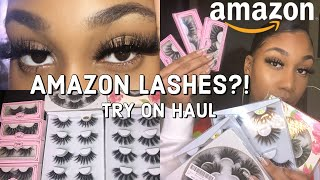 AMAZON MINK LASHES 25 MM REVIEW + TRY-ON HAUL + Very Affordable 🤑 Boujee On A Budget!