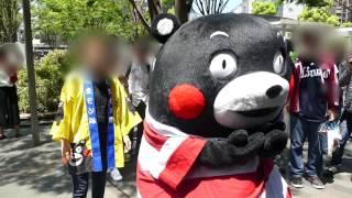 くまモン 博多駅前に登場@ラグビー国際テストマッチ熊本開催PR 20170504