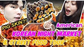KOREAN STREET FOOD TOUR at Gwangjang Market - traditional food mukbang vlog seoul |  Pig Skin