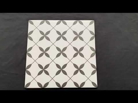 Gres szkliwiony PATCHWORK CONCEPT biało-czarny clover pattern satyna 29,8x29,8 gat. I