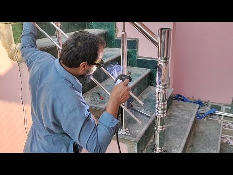 Stainless Steel Staircase Railing Full Installation Process | how to make steel stair railing design