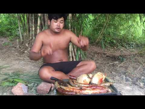 ARS Primitive Cooking Pig Intestines On Rock - Cook Pork Intestine Eating Delicious In Forest