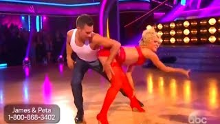 DWTS Season 18 Week 7 Latin Night : James Maslow & Peta - Samba - Episode 7 (April 28th)
