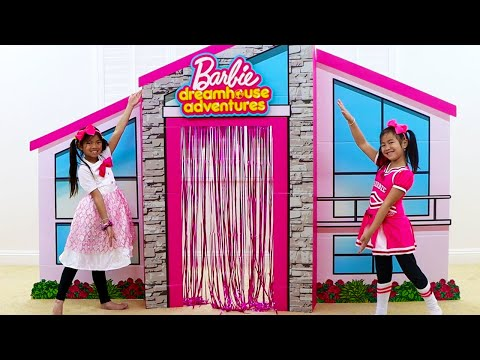 Emma & Jannie Pretend Play with Giant Cardboard Barbie Playhouse and Girl Toys