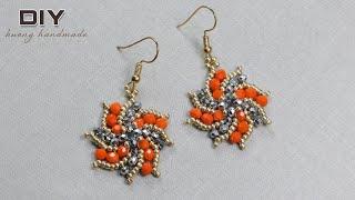 Beaded jewelry diy. Tornado storm fan beaded earrings.