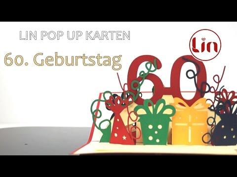 Pop Up 3D Karte zum Geburtstag - 3D Klappkarte 60. Geburtstag