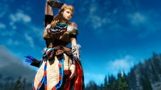 Aloy's outfit from Horizen Zero Down HDT PE CBBE and UNP for Skyrim LE