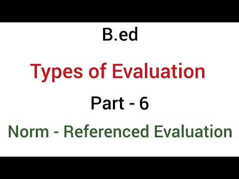 Part - 6 norm-referenced evaluation | types of evaluation | b.ed