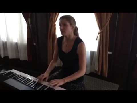 """Christina playing """"Hallelujah"""" at a wedding cocktail hour."""