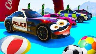 Мультики про машинки Полицейские цветные машины в гонки на Дисней треке
