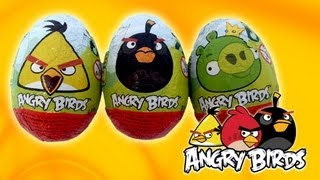 3 Angry Birds Surprise Eggs Unboxing - Zaini Angry Birds Surprise Eggs - Toys Review