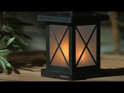 Lunartec LED Laternen: Solar-Gartenlaterne mit 32 Flammeneffekt-LEDs, Lichtsensor, Akku, IPX3